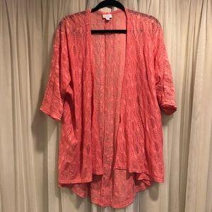LuLaRoe pink lace open front long cardigan medium
